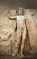 Close up of a Roman Sebasteion relief  sculpture of Ares, Aphrodisias Museum, Aphrodisias, Turkey.  Against an art background.<br /> <br /> The nude and classically7 styled young god wears only a helmet and holds a spear (missing) in one hand and a shield in the other. At the left stands cuirass, and at the upper right corner hangs his sword. Ares was a god of war and was not later defaced by Christians probably because he so closely resembles a young emperor.