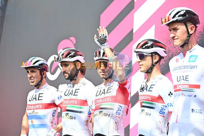 Diego Ulissi (ITA) and UAE Team Emirates at sign on before the start of Stage 2 of the 103rd edition of the Giro d'Italia 2020 running 149km from Alcamo to Agrigento, Sicily, Italy. 4th October 2020.  <br /> Picture: LaPresse/Massimo Paolone | Cyclefile<br /> <br /> All photos usage must carry mandatory copyright credit (© Cyclefile | LaPresse/Massimo Paolone)