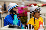 JULY 24, 2021: Juan Hernandez talks on the phone with the stewards while Abel Cedillo waits his turn after an inquiry in a race at the Del Mar Fairgrounds in Del Mar, California on July 24, 2021. Evers/Eclipse Sportswire/CSM