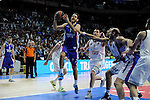 Real Madrid´s Gustavo Ayon and Jonas Maciulis and Anadolu Efes´s Stratos Perperoglou during 2014-15 Euroleague Basketball Playoffs second match between Real Madrid and Anadolu Efes at Palacio de los Deportes stadium in Madrid, Spain. April 17, 2015. (ALTERPHOTOS/Luis Fernandez)