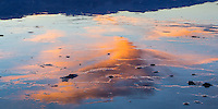 Water can almost always be found in Death Valley. Here, the sunset makes for a nice reflection in one of these slow moving rivers.