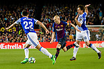 Andres Iniesta of FC Barcelona (C) fights for the ball with Mikel Oyarzabal of Real Sociedad (R) during the La Liga match between Barcelona and Real Sociedad at Camp Nou on May 20, 2018 in Barcelona, Spain. Photo by Vicens Gimenez / Power Sport Images