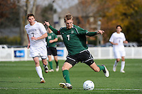 Andrew Olsen (7) of the Dartmouth Big Green shoots and scores the game winning goal. Dartmouth defeated Monmouth 4-0 during the first round of the 2010 NCAA Division 1 Men's Soccer Championship on the Great Lawn of Monmouth University in West Long Branch, NJ, on November 18, 2010.