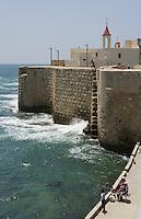 Asie/Israël/Galilée/Saint-Jean-d'Acre: les murailles la mer et le clocher ed l'église St Jean