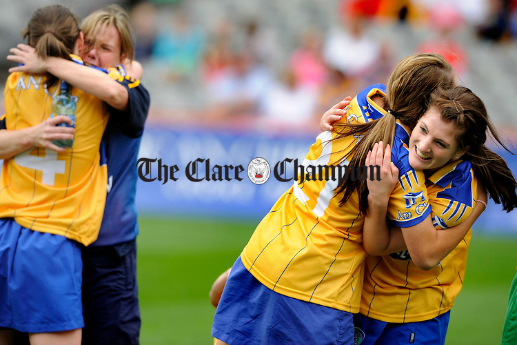 Jubilation on the field after the final whistle as winning goal scorer Shonagh Enright is congratulated by team mate Aiveen O Shea atthe All-Ireland junior camogie final at Croke Park. Photograph by John Kelly.