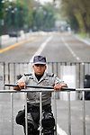 Mexico (31.08.2006) Federal Police officers take guard outside the Mexican Congress in Mexico City, August 31, 2006. President Vicente Fox will address his last State of the Nation under heavy security measures in order to block protests by supporters of leftist presidential candidate Andres Manuel Lopez Obrador.  © Photo by Heriberto Rodriguez