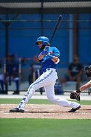 GCL Blue Jays third baseman Emilio Guerrero (79) follows through on a swing during a game against the GCL Pirates on July 20, 2017 at Bobby Mattick Training Center at Englebert Complex in Dunedin, Florida.  GCL Pirates defeated the GCL Blue Jays 11-6 in eleven innings.  (Mike Janes/Four Seam Images)