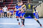 Bjoern Zintel (HBW Balingen #23) ;  ; Dominik Weiss (TVB Stuttgart #6) ; BGV Handball Cup 2020 Halbfinaltag: TVB Stuttgart vs. HBW Balingen-Weilstetten am 11.09.2020 in Ludwigsburg (MHPArena), Baden-Wuerttemberg, Deutschland<br /> <br /> Foto © PIX-Sportfotos *** Foto ist honorarpflichtig! *** Auf Anfrage in hoeherer Qualitaet/Aufloesung. Belegexemplar erbeten. Veroeffentlichung ausschliesslich fuer journalistisch-publizistische Zwecke. For editorial use only.