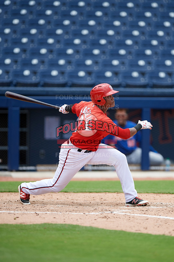 GCL Nationals right fielder Juan Evangelista (2) at bat during the second game of a doubleheader against the GCL Mets on July 22, 2017 at The Ballpark of the Palm Beaches in Palm Beach, Florida.  GCL Mets defeated the GCL Nationals 4-1.  (Mike Janes/Four Seam Images)