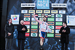 Jonathan Hivert (FRA) Total Direct Energie retains the Polka Dot Jersey on the podium at the end of Stage 2 of the 78th edition of Paris-Nice 2020, running 166.5km form Chevreuse to Chalette-sur-Loing, France. 9th March 2020.<br /> Picture: ASO/Fabien Boukla | Cyclefile<br /> All photos usage must carry mandatory copyright credit (© Cyclefile | ASO/Fabien Boukla)