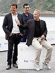 Film director Francois Ozon, the actor Fabrice Luchini (r) and the writer Juan Mayorga (c) attend the photocall of 'Dans La Maison' during the 60th San Sebastian Donostia International Film Festival - Zinemaldia.September 23,2012.(ALTERPHOTOS/ALFAQUI/Acero)