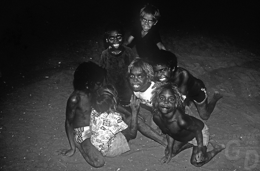 Aboriginal children at an outback station in the far North of western Australia, Kimberly region.