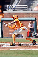 Tennessee Volunteers left fielder Jay Charleston (4) squares to bunt during a game against the South Carolina Gamecocks at Lindsey Nelson Stadium on March 18, 2017 in Knoxville, Tennessee. The Gamecocks defeated Volunteers 6-5. (Tony Farlow/Four Seam Images)