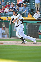 Josh Rutledge (8) of the Salt Lake Bees at bat against the Fresno Grizzlies in Pacific Coast League action at Smith's Ballpark on June 13, 2015 in Salt Lake City, Utah.  (Stephen Smith/Four Seam Images)