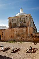 Chapel cross and graves. Tumacacori National historical Park. Arizona