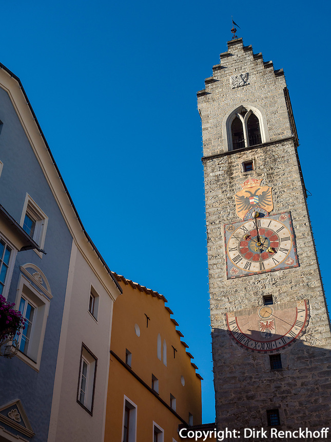 Zwölferturm in der Altstadt, Sterzing, Region Südtirol-Bozeb, Italien, Europa<br /> tower Zwölferturm, hictoric city of Sterzing, Region South Tyrol-Bolzano, Italy, Europe