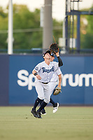 Tampa Tarpons Matt Pita (6) catches a fly ball during a Florida State League game against the St. Lucie Mets on April 10, 2019 at George M. Steinbrenner Field in Tampa, Florida.  St. Lucie defeated Tampa 4-3.  (Mike Janes/Four Seam Images)