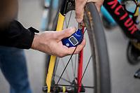 checking the pressure on Oliver Naesen's (BEL/AG2R-LaMondiale) bike pre-race<br /> <br /> Binche-Chimay-Binche 2017 (BEL) 197km<br /> 'Mémorial Frank Vandenbroucke'