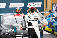 23rd August 2020, Lausitz Circuit, Klettwitz, Brandenburg, Germany. The Deutsche Tourenwagen Masters (DTM) race at Lausitz;  Lucas Auer AUT, Team RMG, BMW M4 DTM with his trophies