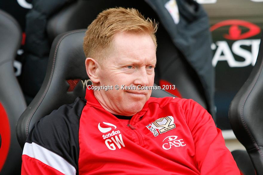 MK Dons assistant manager Gary Waddock<br />  - MK Dons v Stevenage - Sky Bet League One - Stadium MK, Milton Keynes - 28th September 2013. <br /> © Kevin Coleman 2013