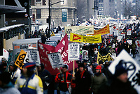 February 7, 1993 File Photo -  Members of various unions march in the street of Montreal.<br /> <br /> Des membres de diffÈrents syndicats dÈfilent dans les rues de MontrÈal, le 7 fÈvrier 1993.