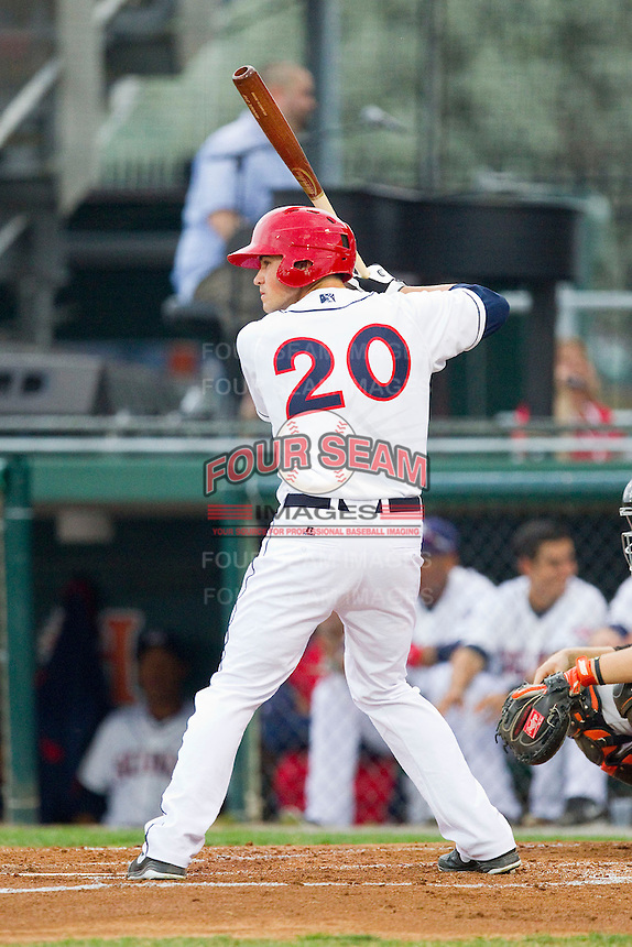 Brandon Miller (20) of the Hagerstown Suns at bat against the Delmarva Shorebirds at Municipal Stadium on April 11, 2013 in Hagerstown, Maryland.  The Shorebirds defeated the Suns 7-4 in 10 innings.  (Brian Westerholt/Four Seam Images)
