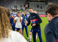 ORLANDO, FL - JANUARY 18: Vlatko Andonovski of the USWNT talks to his team after a game between Colombia and USWNT at Exploria Stadium on January 18, 2021 in Orlando, Florida.