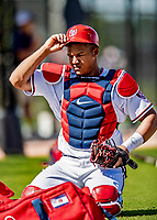 21 February 2019: Washington Nationals catcher Pedro Severino prepares to work on drills during a Spring Training workout at the Ballpark of the Palm Beaches in West Palm Beach, Florida. Mandatory Credit: Ed Wolfstein Photo *** RAW (NEF) Image File Available ***