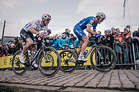 teammates Philippe Gilbert (BEL/Quick Step floors) & Zdenek Stybar (CZE/Quick-Step Floors) up the last ascent of the Paterberg<br /> <br /> 102nd Ronde van Vlaanderen 2018 (1.UWT)<br /> Antwerpen - Oudenaarde (BEL): 265km