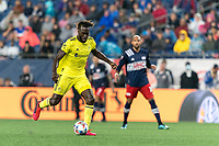 FOXBOROUGH, MA - AUGUST 4: C.J. Sapong #17 of Nashville SC passes the ball during a game between Nashville SC and New England Revolution at Gillette Stadium on August 4, 2021 in Foxborough, Massachusetts.