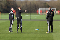 Pictured L-R: Kristian O'Leary with manager Garry Monk and Johnny Northeast Wednesday 05 November 2014<br />