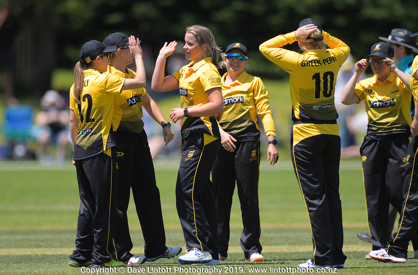 Jess Kerr celebrates a wicker during the women's Hallyburton Johnstone Shield cricket match between the Wellington Blaze and Central Hinds at Karori Park in Wellington, New Zealand on Saturday, 30 November 2019. Photo: Dave Lintott / lintottphoto.co.nz