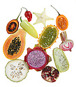 Food as Art - Food as Art - Fruits and Vegetables photographed on a light table.