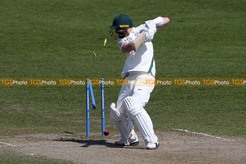 Riki Wessels of Worcestershire is bowled out by Sam Cook during Worcestershire CCC vs Essex CCC, LV Insurance County Championship Group 1 Cricket at New Road on 2nd May 2021