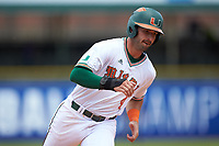 Johnny Ruiz (4) of the Miami Hurricanes rounds third base against the Georgia Tech Yellow Jackets during game one of the 2017 ACC Baseball Championship at Louisville Slugger Field on May 23, 2017 in Louisville, Kentucky. The Hurricanes walked-off the Yellow Jackets 6-5 in 13 innings. (Brian Westerholt/Four Seam Images)