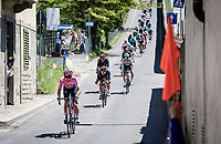 Maglia Rosa / Pink Jersey / GC Leader Egan Bernal (COL/Ineos Grenadiers) at a crazy steep descent mid-race<br /> <br /> 104th Giro d'Italia 2021 (2.UWT)<br /> Stage 12 from Siena to Bagno di Romagna (212km)<br /> <br /> ©kramon