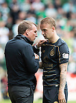 St Johnstone v Celtic…20.08.16..  McDiarmid Park  SPFL<br />Brendon Rodgers talks with Leigh Griffiths as he is subbed<br />Picture by Graeme Hart.<br />Copyright Perthshire Picture Agency<br />Tel: 01738 623350  Mobile: 07990 594431