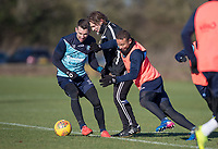Wycombe Wanderers Manager Gareth Ainsworth with Matt Bloomfield & Curtis Thompson of Wycombe Wanderers during the Wycombe Wanderers Training session at Wycombe Training Ground, High Wycombe, England on 17 January 2019. Photo by Andy Rowland.
