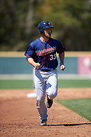 Minnesota Twins Zander Wiel (33) during a minor league Spring Training game against the Baltimore Orioles on March 17, 2017 at the Buck O'Neil Baseball Complex in Sarasota, Florida.  (Mike Janes/Four Seam Images)