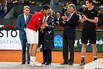 Serbian Novak Djokovic, Manolo Santana, Madrid Mayor Manuela Carmena and the president of Mutua Madrileña Ignacio Garralda during  TPA Finals Mutua Madrid Open Tennis 2016 in Madrid, May 08, 2016. (ALTERPHOTOS/BorjaB.Hojas)