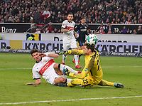 13.01.2018,  Football 1.Liga 2017/2018, 18. match day, VfB Stuttgart - Hertha BSC Berlin, in Mercedes-Benz-Arena Stuttgart. v..li, Mario Gomez (Stuttgart)  -  goalkeeper Rune Jarstein (Hertha BSC Berlin). *** Local Caption *** © pixathlon<br /> <br /> +++ NED + SUI out !!! +++<br /> Contact: +49-40-22 63 02 60 , info@pixathlon.de