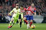 Referee Gil Manzano, Club Atletico de Madrid's Koke Resurreccion (R), Santiago Arias and Futbol Club Barcelona's Leo Messi  during La Liga match. November 24,2018. (ALTERPHOTOS/Alconada)