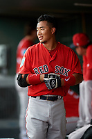 Boston Red Sox Justin Qiang (25) in the dugout during a Florida Instructional League game against the Baltimore Orioles on October 8, 2018 at the Ed Smith Stadium in Sarasota, Florida.  (Mike Janes/Four Seam Images)