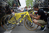 Last minute checks at Thomas Voeckler's (FRA/DirectEnergie) bike before the start of stage 8 in Pau (towards Bagnères-de-Luchon, 184km)<br /> <br /> 103rd Tour de France 2016