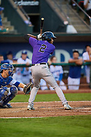 Daniel Montano (2) of the Grand Junction Rockies bats in front of catcher Tre Todd (11) during a game against the Ogden Raptors at Lindquist Field on September 7, 2018 in Ogden, Utah. The Rockies defeated the Raptors 8-5. (Stephen Smith/Four Seam Images)