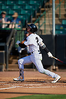 Jackson Generals Galli Cribbs Jr. (2) at bat during a Southern League game against the Mississippi Braves on July 23, 2019 at The Ballpark at Jackson in Jackson, Tennessee.  Jackson defeated Mississippi 2-0 in the first game of a doubleheader.  (Mike Janes/Four Seam Images)