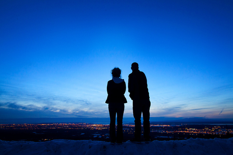 """Zane and Maggie took a moment to look out over Anchorage at the end of a day of sightseeing. The two have been together, on-and-off, since they were 14. """"He asked me out to a rodeo,"""" Maggie said of their first date. While the two have many hurdles to overcome, Maggie says she is hopeful they will survive as a couple."""