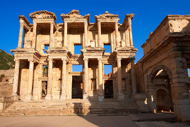 Picture of The library of Celsus. Images of the Roman ruins of Ephasus, Turkey. Stock Picture & Photo art prints 1