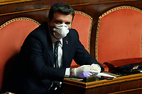 Senators wearing mask and gloves. Gian Marco Centinaio<br /> Rome March 26th 2020. Senate. Information of the Italian Premier about the measures adopted to contrast Coronavirus, Covid-19.<br /> Photo Samantha Zucchi Insidefoto