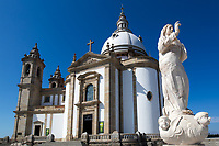 Basilic of Sameiro perspective, sanctuary, and Marian shine, with a beautiful statue in the foreground under a blue sky near Braga Portugal, Europe